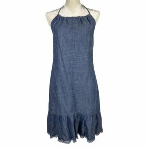 Trina Turk Frayed Sleeveless Halter Neck Dress S